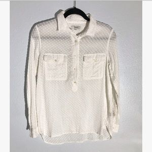 MADEWELL white cotton textured shirt size small